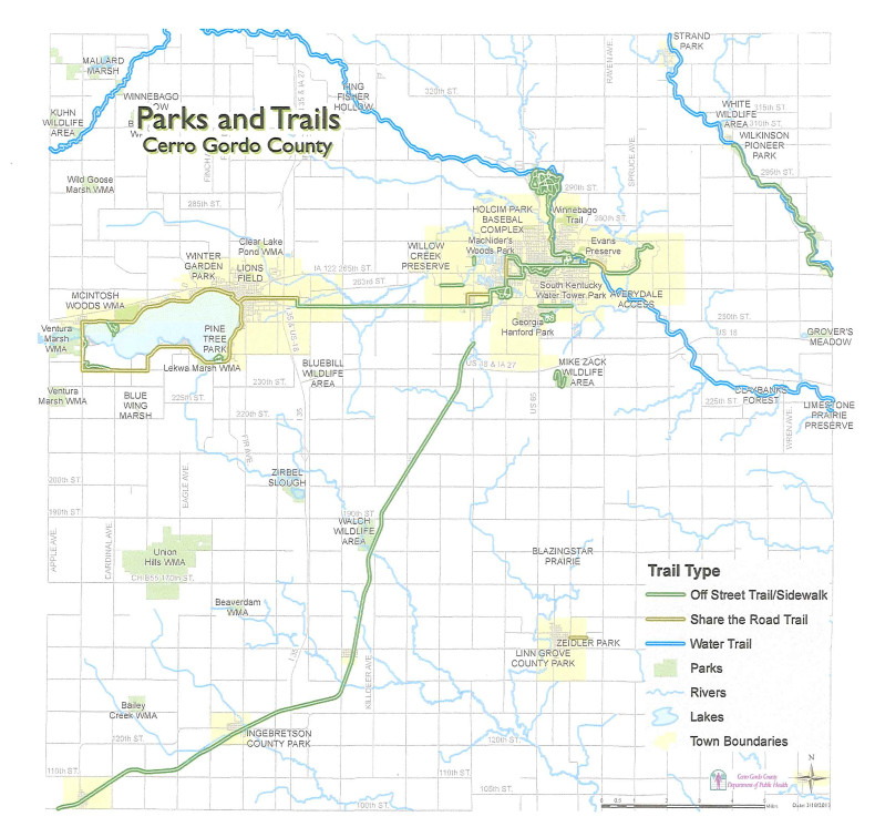 Parks and Trails Map for Cerro Gordo County